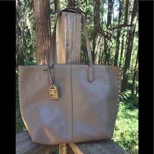 Lauren Ralph Lauren mocha brown leather tote